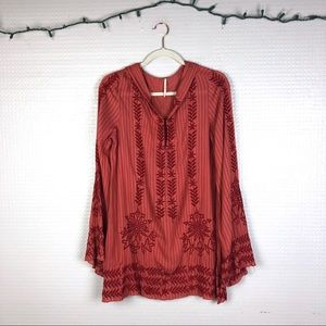 Free People | Embroidered Floral Hooded Tunic S